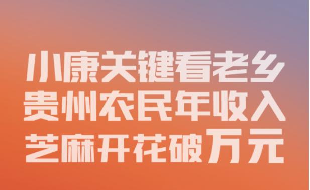 【数说bwin888必赢亚洲之六】小康关键看老乡,bwin888必赢亚洲农民年收入芝麻开花破万元
