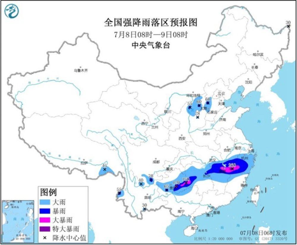 注意防范!暴雨橙色预警继续 浙江贵州等地有大暴雨
