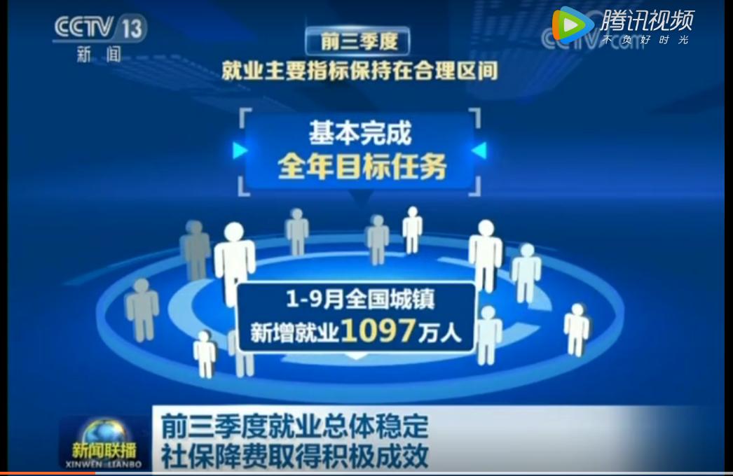 前三季度就业总体稳定 社保降费取得积极成效