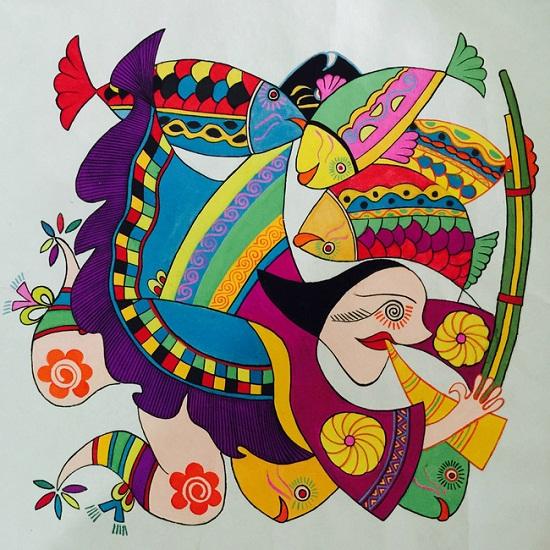 2005年,平坡农民画参加全省现代民间绘画展,14幅作品全部入选,其中2幅图片