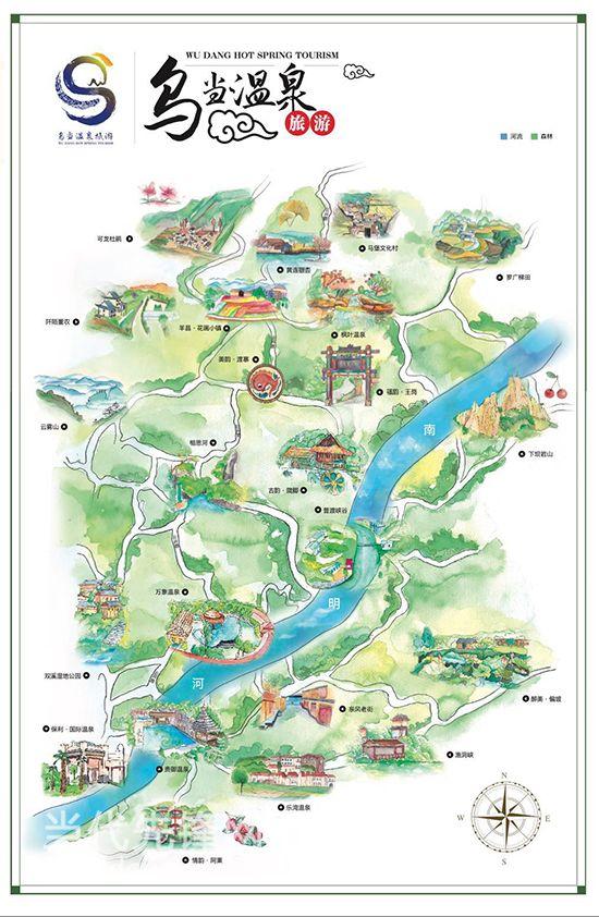 乌当区温泉旅游手绘地图
