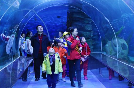孩子们参观海洋馆